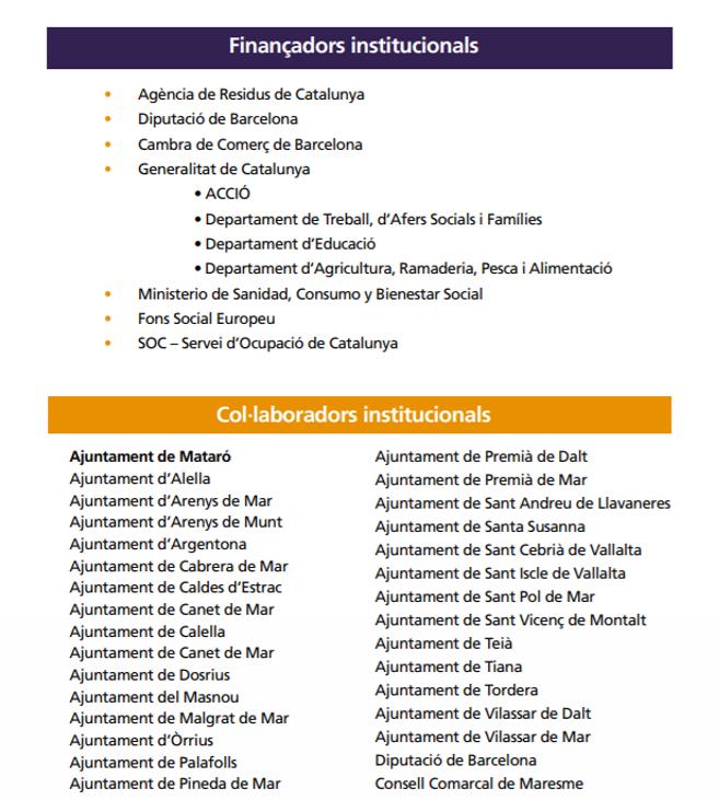FINANÇADORS I COL·LABORADORS INSTITUCIONALS